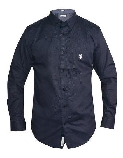 Camisa Azul Marino Con Puntos Azules Manga Larga Caballero