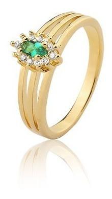 Anel De Formatura Pedra Verde Semi-joia Banhado Ouro 18k