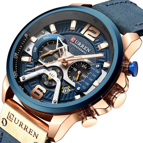 Relógio Curren Funcional Esportivo Couro Original Luxo