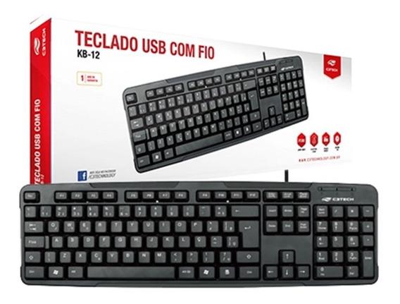 Teclado C3 Tech Abnt2 Usb - Kb-12bk + Nf + Envio Imediato