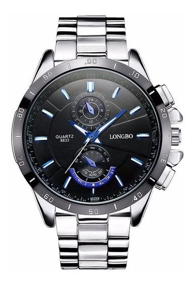 Relógio Masculino Longbo De Luxo Original Prata Barato