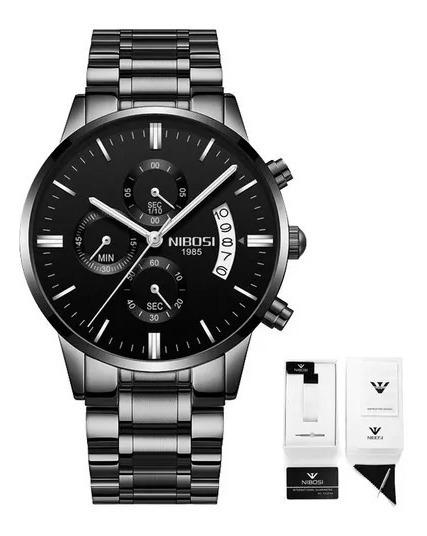 Relógio Nibosi Masculino Black Cronógrafo A Prova D