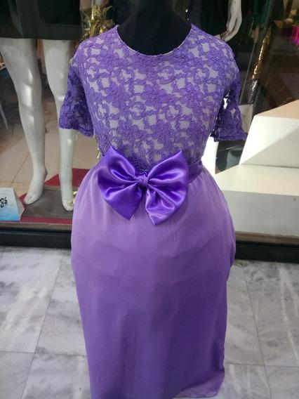 Vestido De Fiesta Para Niña Color Violeta Talle 14 Y 16 Año.