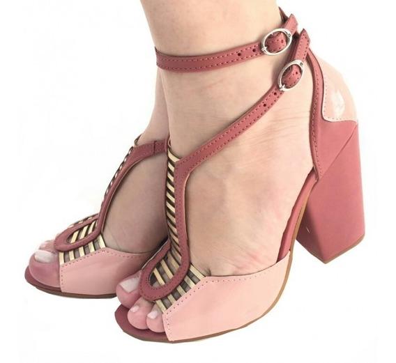 Sandália Rosa Dourada Salto Alto Grosso Confortável Tiras