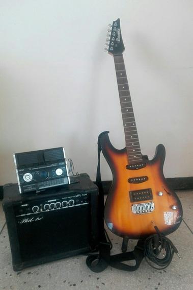Guitarra Eléctrica Con Planta De Sonido Y Pedalera De Efecto