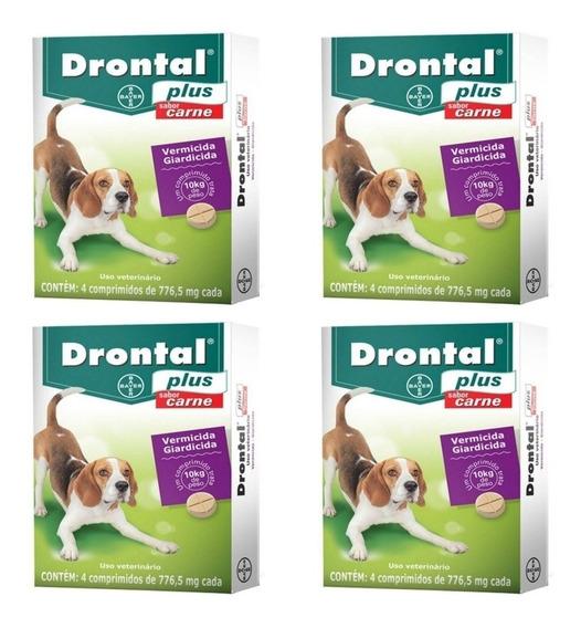 Kit C/ 4 Caixas Drontal Plus Carne Cães 10kg 4 Comp. Bayer