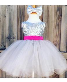 Vestido De Bebê Menina Festa Prata Com Rosa Promoção