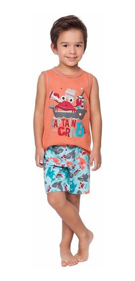 Pijama Infantil Regata E Bermuda Fundo Do Mar - Malwee