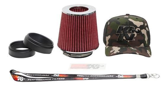 Filtro De Ar Esportivo K&n Kn Duplo Fluxo Rg1001 Conico Universal Rg-1001rd Vermelho