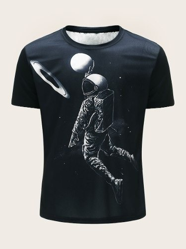 Playera 3d Sublimada Full Print Astronauta Basquetbol