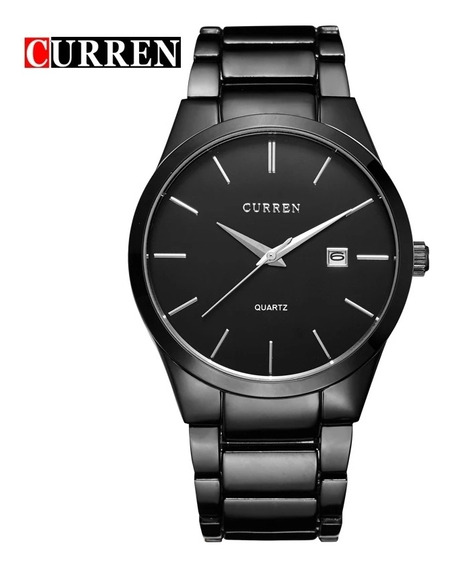 Reloj Curren Negro Hombre Fechador Elegante