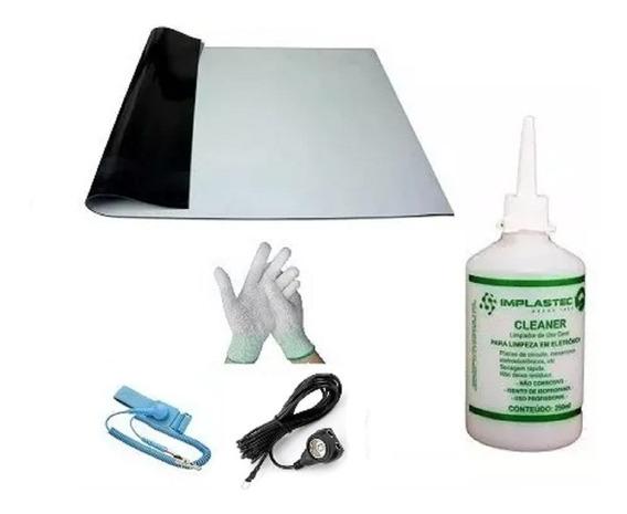 Kit Anti-estático Manta Cabo Pulseira Luva Esd + Limpa Placa