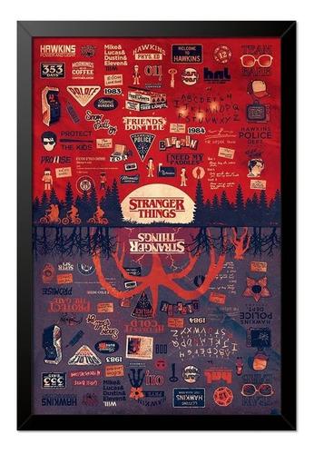Imagem 1 de 1 de Quadro Poster Stranger Things Referências 33x23cm