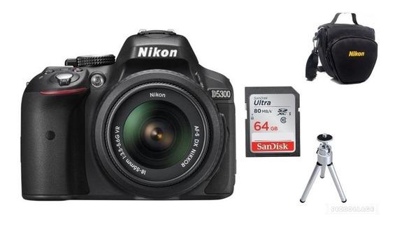 Câmera Nikon D5300 Af-p 18-55mm Vr+64gb+bolsa+tripé