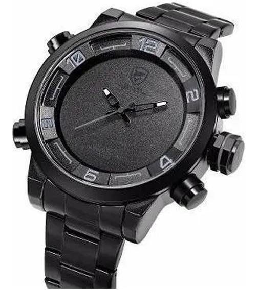 Relógio Masculino Shark Anadigi Sh-364 - Preto E Verde