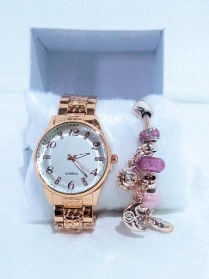Pulseira Berloque Pingente + Relógio Rosê Melhor Preço Ofert