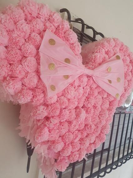 Piñata Minnie Mouse Rosa Dorado Con Flores