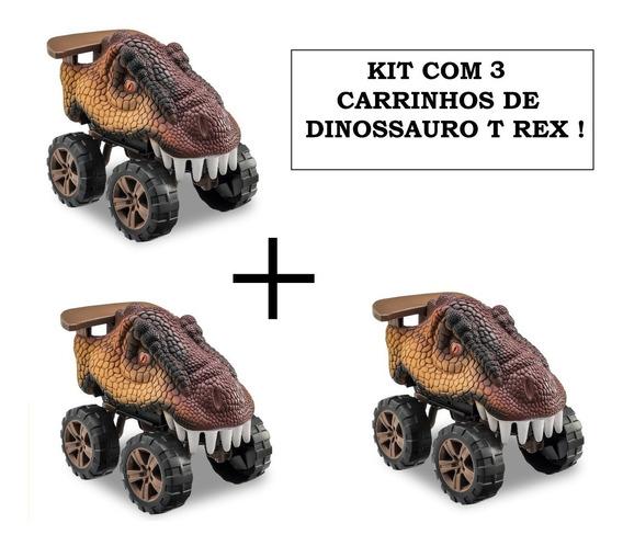 3 Carros Dinossauro T Rex Animals Off Road Usual Brinquedos