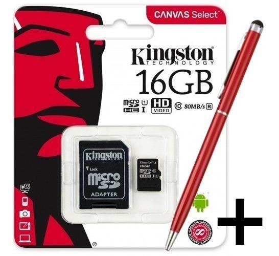 Memoria Micro Sd Kingston 16gb Canvas 80 M/s +lapicera Touch