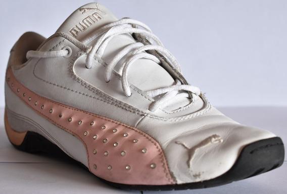 Zapatillas Puma Niña Talle 4 Usa Imp 22cm Cuero Bco/rosa