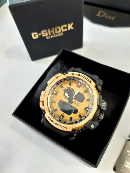 Relógio Dourado Ponteiro Digital Na Caixa Barato