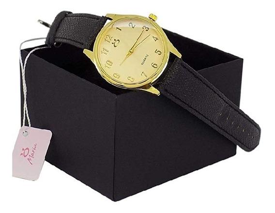 Relógio Feminino Orizom Couro Preto 100% Original +caixa.