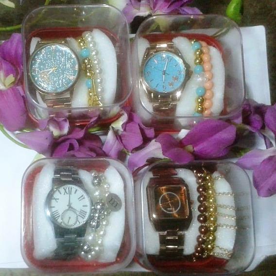 Kit C/ 4 Relógios Feminino+caixas Vermelha+pulseiras Barato