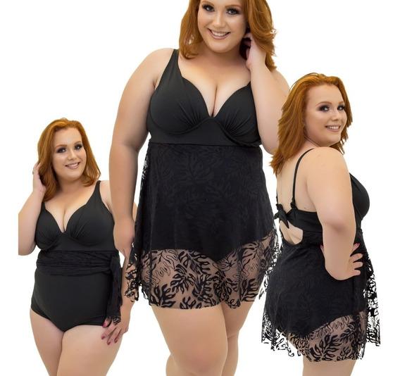 Maiô Vestido Plus Size 48 A 54 C/ Bojo Saida Praia Barato