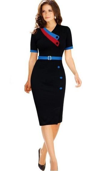 Vestido Negro Ajustado Semi Formal Envìo Gratis Va 94