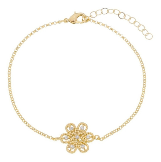 Pulseira Bracelete Feminina Delicada Flor Banhada A Ouro 18k