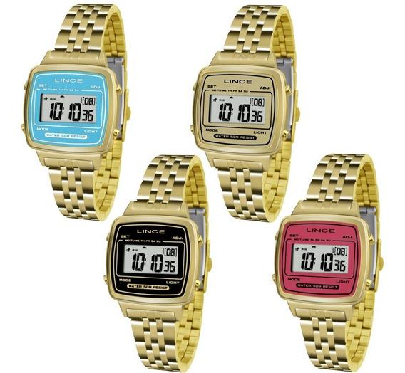 Relógio Feminino Dourado Vintage Digital Lince