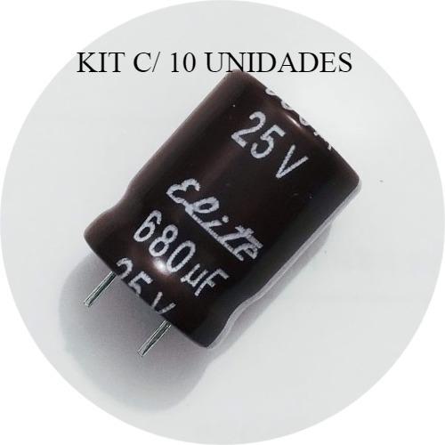 680uf 25v ( Kit C/10 Peças) Capacitor Eletrolitico 680uf 25v
