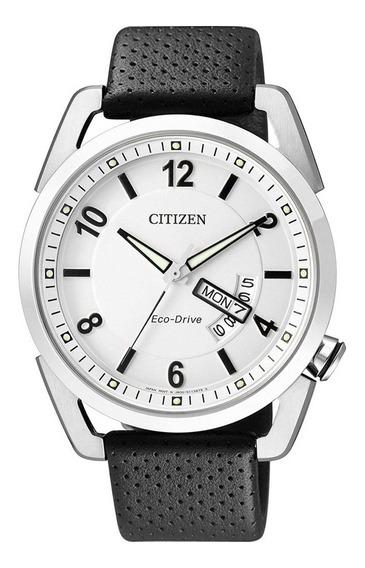Relógio Citizen Masculino Prata Eco-drive Couro Com Data