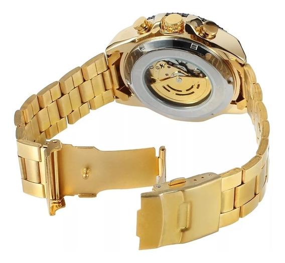 Relógio Automático Original Masculino Dourado Lançamento