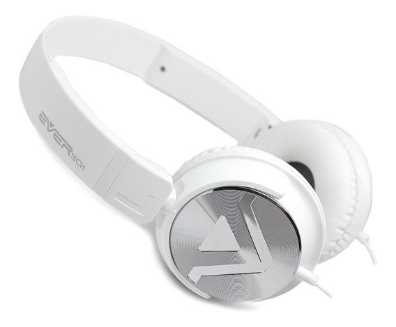 Novo Fone Headphone Dj Evertech Head Brand Power Bass Com Microfone - Evhp-20m/ws - Tipo Jbl Sony Bose