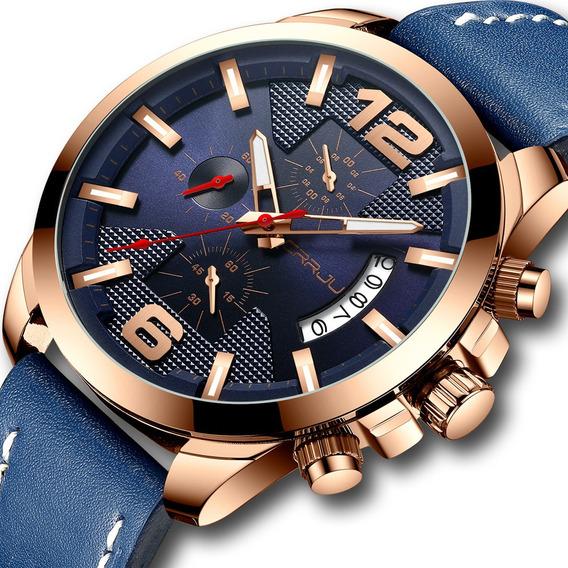 Crrju Relógio Luxo Pulseira Couro Cronógrafo Prova D