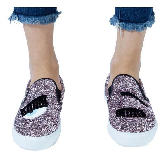 Customs Ba Zapato Mujer Panchas Zapatillas Zapatos Brillos
