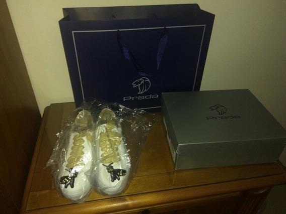 Prada Zapatos Deportivos De Dama Piel Y Parche Bordado