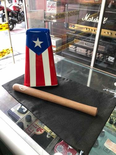 Campana Salsera  Mediana 17 Cm Puerto Rico Con Palo Y Funda