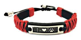Pulseira Patinha De Cachorro Pet Bicudos Regulável Vermelha