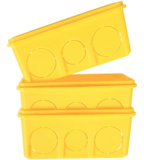 Caixa Plástica 4x2 Luz Amarela Tramontin Pacote C/25 Unid.