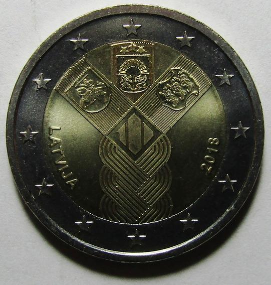 Letonia Moneda 2 Euros 2018 Unc 100º Aniv Estados Balticos