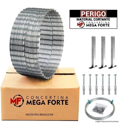 Concertina Mega Forte Muro Perimetral + Kit 10mts 30cm