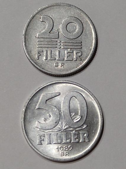 Monedas De Hungría,20 Y 50,filler,año 1980-89