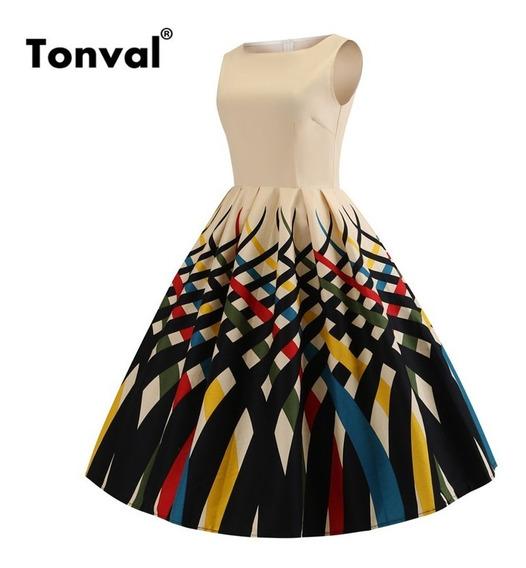 Vestido Vintage Retro Tonval Multicolor