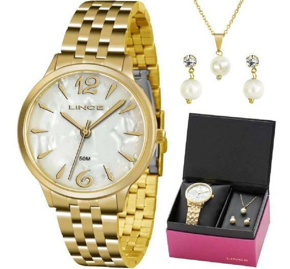 Kit Relógio Feminino Lince Lrgh047l Kt90b2kx Colar E Brincos