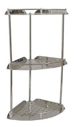 Esquinero De Acero Inoxidable 3 Estantes Ideal Baño Mf Shop