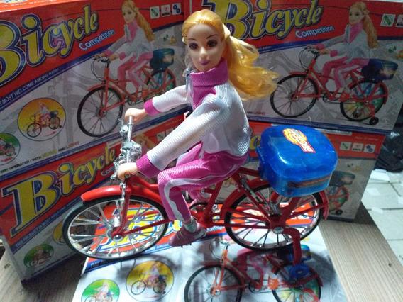 Boneca Com Bicicleta Competição Promoção Bike Original 30cm