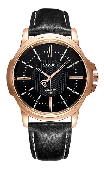 Relógio Masculino Luxo Yazole 358 Pulseira Couro Promoção