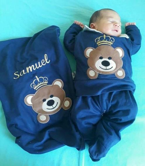 Saída De Maternidade Menino Personalizamos Nome Urso Marinho
